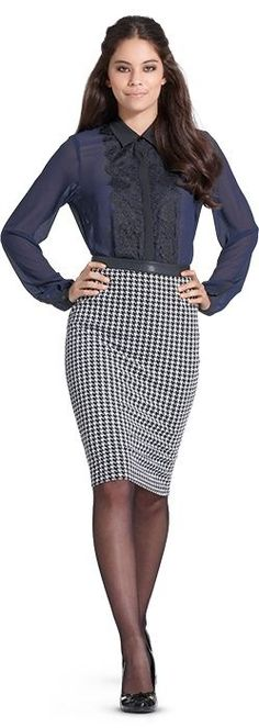 Houndstooth Pencil Slirt Blue Blouse Sheer Black Pantyhose and Black High Heels