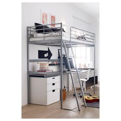 Buy IKEA SVÄRTA Loft Bed frame in Silver Color. The ladder mounts on the right or the left side of the Days Money Back Guarantee! Ikea Loft, Dorm Room Designs, Bunk Bed Designs, Bunk Beds With Stairs, Kids Bunk Beds, Loft Beds, Modern Bunk Beds, Modern Loft, Modern Kids