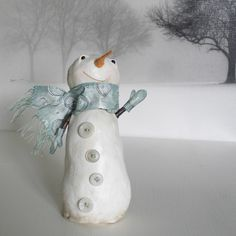 First Edition, Paper Clay, Sculpture, Snowman, SMILES