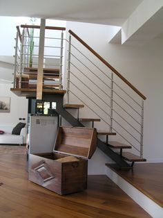 Open staircase with central stringer 200 by Interbau Suedtirol Treppen