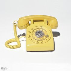 Vintage Yellow Rotary Phone • WORKING Telephone 1960s Telephone • Vintage Western Electric Phone • Retro Rotary Telephone • Yellow Telephone ➳ Aligras Vintage on Etsy
