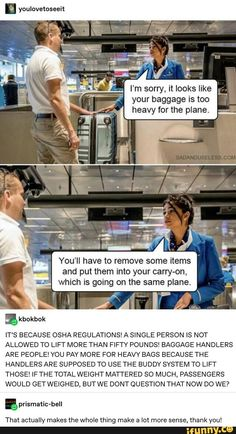 The reason theres a weight limit on your baggage My Tumblr, Tumblr Funny, Funny Memes, Jokes, Hilarious, John Barrowman, Weird Facts, Fun Facts, Random Facts