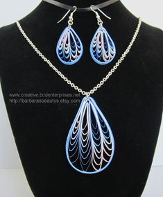 Quilling Necklace and Earrings, Blue and Lavender Loops. $20.00, via Etsy.