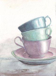 Tea Cups #KitchenDecor #Pastels