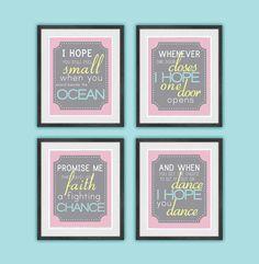 I hope you dance - Quote Set - Girl Bedroom or Nursery - Typography via Etsy