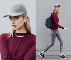 Ebba Zingmark - Stella Mccartney Cap, Chiquelle Top, Cheap Monday Jeans, Reebok Sneakers, Fjällräven Backpack, Jane Koenig Necklace - RED HEART GREY