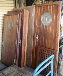 Teak Galley Doors | Recycling the Past - Architectural Salvage & nautical door with porthole | Ship Salvage - Nautical Antique ...