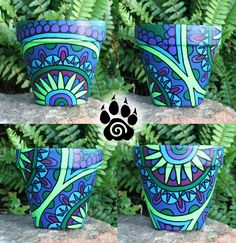 hand painted plant pots - Google Search
