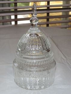 Crystal Clear Lead Crystal Candy Bowl Dish Vintage Capitol Building Top~ #unbranded #candydish