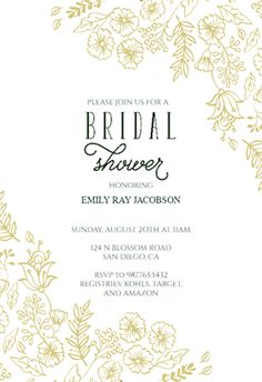 elegant flowers free bridal shower invitation template greetings island