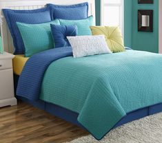 Fiesta Dash Reversible Quilt Set-King-Lapis Turquoise Blue-with 2 Euro Shams -- For more information, visit image link. (This is an affiliate link)