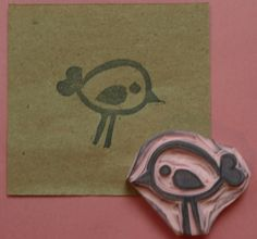 Birdie Rubber Stamp Hand Carved