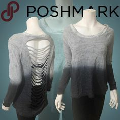 KIERA Shredded Long Sleeves Ombre Top NWT. Raw edge graduated grey ombre top with shredded back detailing. Cotton and polyester blend, a very light sweater material. NO TRADES Boutique Tops