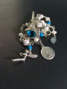 Multi Charm Necklace Vintage Silver Charm by FribblePistol on Etsy