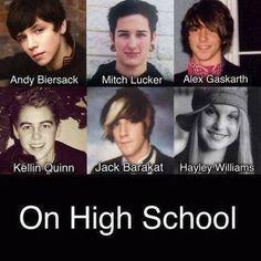 Andy Biersack, Mitch Lucker, Alex Gaskarth, Kellin Quinn, Jack Barakat, and Hayley Williams - high school pics