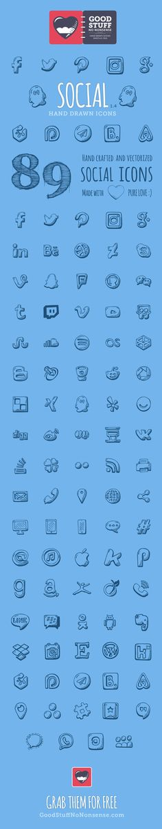 89Hand Drawn Vector Icons formerly known as 56 Hand drawn social icons, yes I update them from time to time! …
