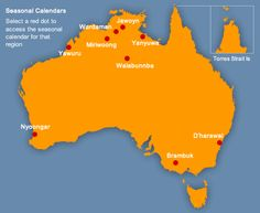 Indigenous Australians have long held their own seasonal calendars based on the local sequence of natural events. To the right is a map of Australia with hyperlinks to the corresponding seasonal calendars for given regions.