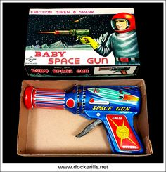 BabySpace Gun, DAIYA, Japan. (Photo 1 of 2). Tin Litho Tin Plate Toy. Trigger activated sparking mechanism. Photo in DOCKERILLS - TIN TOY REFERENCE - JAPAN - Google Photos
