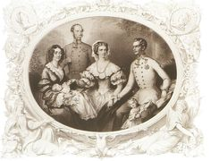 Empress Sisi, Franz Joseph I, Archduchess Gisela, Sophie of Bavaria, Archduke Franz Karl and Archduchess Sophie, 1856 by Josef Kriehuber (1800–1876)