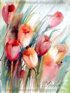 Asaz flora y fauna: Tulipanes, flora, de Fábio Cembranelli Tulip Painting, Painting & Drawing, Watercolor Flowers, Watercolor Paintings, Watercolour, Colorful Drawings, Oeuvre D'art, Flower Art, Canvas Art