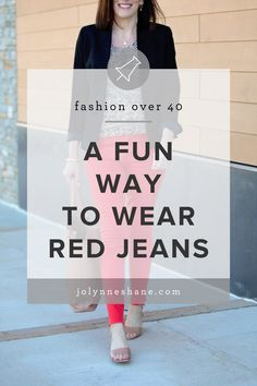 I thought it would be fun to style my red jeans for work wear or a conservative date night look. The raw hem and higher rise keeps these red jeans current. click through for more details! Over 50 Womens Fashion, Fashion Over 40, Red Jeans Outfit, Business Chic, Wardrobe Basics, Night Looks, Red Sweaters, Fashion Advice, Really Cool Stuff