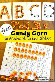 FREE Candy Corn Alphabet and Fall Picture Mats! This is such a fun way for toddler preschool prek and kindergarten kids to practice building alphabet letters counting and having some fall fun. Great kids activities for extra candy. Fall Preschool Activities, Preschool Printables, Preschool Lessons, Preschool Classroom, Preschool Learning, Toddler Activities, Toddler Preschool, Preschool Fall Theme, Educational Activities