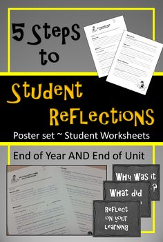 Teach your students how to reflect on their learning with this easy to use assignment.  Includes 2 reflections for end of unit or end of year.  As a BONUS there is a poster set for quick reminders all year!