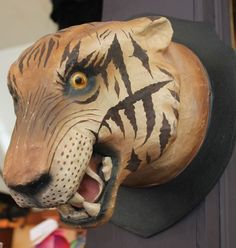 Image of Life Size Paper Mache Tiger Head
