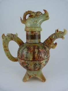 CHINESE HAND CARVED JADE DRAGON TEAPOT 19th c.