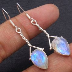 925 Sterling Silver Faceted Rainbow Moonstone Gemstone Handmade Earrings pair #Handmade #Earring #Anniversary