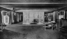 Darwin D. Martin House, Buffalo New York 1911 FIREPLACE IN LIVING ROOM, WEST SIDE.