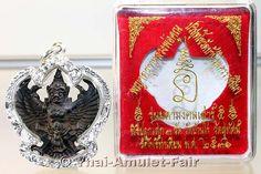 Phaya Krut Ruun Maha Mongkoln Sao 5 Nuea Thong Daeng Rom Dam Garuda Thai Amulet from the venerable Luang Pho Koon Parisuttho, abbot of Wat Banrai, Tambon Kut Piman, Amphoe Dan Khun Thot, Changwat Nakhon Ratchasima (Korat), Isaan, north-east Thailand from the year B.E. 2536 (1993). Luang Pho Koon created the amulet in a numbered small series of only 499 pieces.