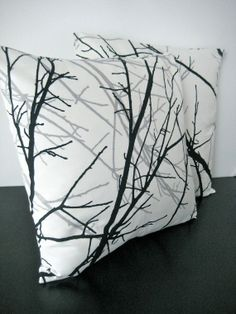 Two Black and White Forest Cushion Covers, Slip cover, throw pillow, decorative cushion, accent pillow