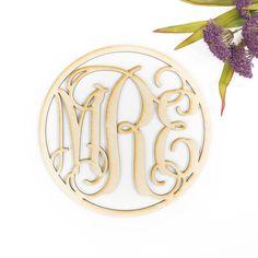 Wood Circle Vine Monogram