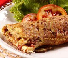 Omelete suflê com recheio de carne-seca Paineira.