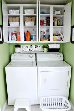 Organizing A Small Laundry Room With Cabinet Shelves Storage ~ Newton Custom Interiors