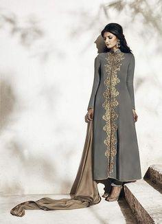 43cde5e194 Wedding Designer Embroidery Grey Georgette Salwar Suit Kameez Paquistanês