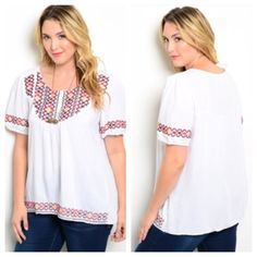 "(plus) White embroidered top White embroidered top  Length- XL 28"" • 2x/3x 29"" Materials- 60% cotton/ 40% polyester. Adorable embroidered top. This has no stretch to it. Lightweight.  Availability- XL•2x•3x • 2•2•1 Price is firm unless bundled. No trades⭐️This is a retail item. It is brand new either with manufacturers tags, boutique tags, or in original packaging. Boutique Tops"