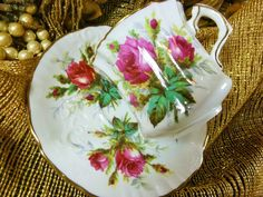 HAMMERSLEY TEA CUP AND SAUCER ~GRANDMOTHER'S ROSE~ HP ROSES MOULDED GOLD RIMS #HAMMERSLEY