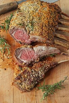 Panko Crusted Rack of Lamb is an easy main dish to serve at a dinner party. Use Dijon mustard to coat the lamb before rolling it in seasoned panko bread crumbs. Lamb Recipes, Meat Recipes, Cooking Recipes, Healthy Recipes, Recipies, Delicious Recipes, Healthy Food, Crusted Rack Of Lamb, Lamb Dishes