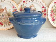 Large Blue Pearsons of Chesterfield Stoneware Casserole Pot (vintage)