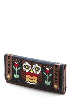 Owl About Town Wallet. A long list of errands is taking you from the grocery store to the laundromat, and then to the shops on Main Street - the perfect trip for this embroidered wallet by Loungefly! Owl Clothes, Owl Purse, Owl Bags, Felt Owls, Folk Embroidery, Embroidery Designs, Beautiful Owl, Cute Owl, Purses And Bags