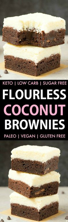 Healthy Vegan Coconut Brownies (Keto, Low Carb, Paleo, Gluten Free)- A thick, fudgy flourless brownie base topped with an addictive layer of thick coconut crack! Made with no eggs and no sugar, they are the best healthy dessert! #ketodessert #ketorecipe #healthybrownies #chocolate #coconut #veganrecipe | thebigmansworld.com