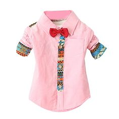 Weixinbuy Baby Kid Boys Long Sleeve Bow Tie Party Shirts Pink -- Click on the image for additional details.