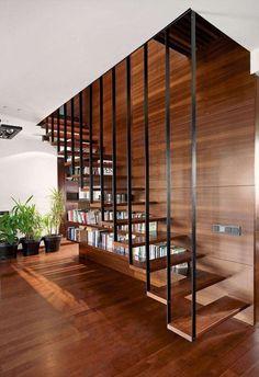 escalier bibliothèque suspendu-moderne-bois-metal-revetement-mural-sol-bois