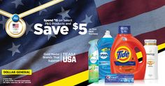 Get $5 off your next purchase when you spend $15 on select P&G products. Head to Dollar General for this great deal today.