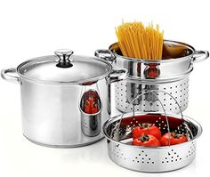 Cook N Home 02401 Stainless Steel 4-Piece Pasta Cooker Steamer Multipots with Encapsulated Bottom, 8-Quart...   Amazon.com     ~XOX  #MaMasKitchenWishes