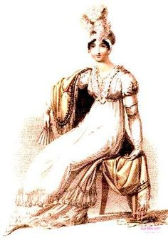 1815  April.  Evening Dress, English.  Empire style high-waisted white dress with V-neckline with lace trim, layered lace hem, high plumed headdress, and with an evening shawl.  Fashion Plate via Rudolph Ackermann's 'The Repository of Arts'. Google Books  (PD-180)  suzilove.com