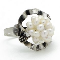 Sterling Silver Chevalier Ring with Pearls. Handmade rhodium plated sterling silver ring with pearls. Adjustable size. Code: 2044. Free shipping. Price: $52,00