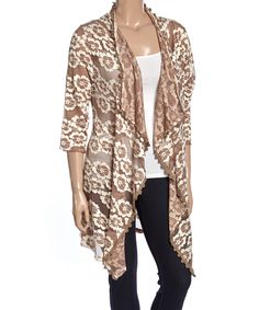 Another great find on #zulily! Lady Noiz Taupe & Ivory Floral Drape Open Cardigan - Plus by Lady Noiz #zulilyfinds